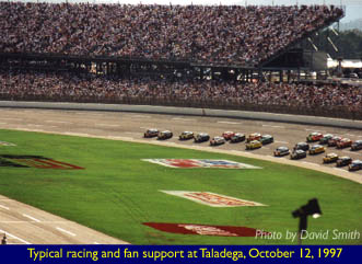 Typical racing and fan support at Taladega, October 12, 1997